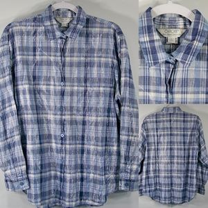 Cherokee L Shirt Blue Silver Plaid LS Buttons